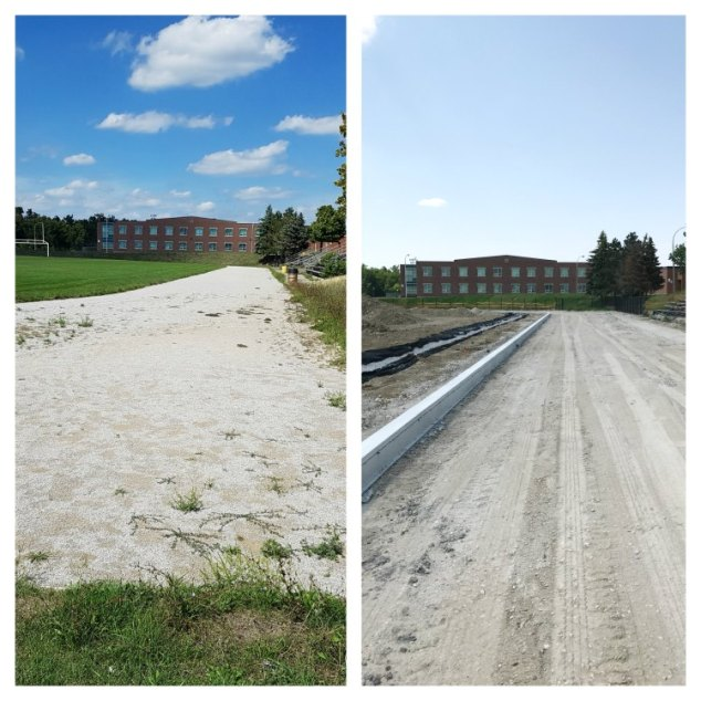 Track and field construction at Heart Lake Secondary School, Brampton