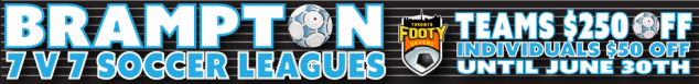 $250 discount off of 7v7 soccer leagues in Brampton