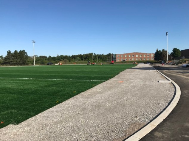 View of the new turf field looking towards Heart Lake Secondary School