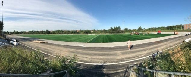 Fieldturf Revolution 360 getting laid at Heart Lake Secondary School in Brampton