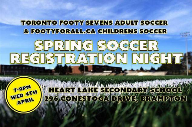 Registration evening for kids and adult soccer in Brampton